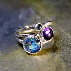 Sterling Silver Stacking Rings, Opal, Amethyst, Blue Topaz - Party of Three. $65.00, via Etsy.