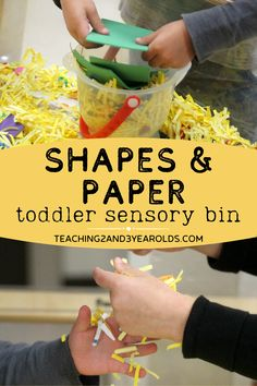 This learning shapes sensory bin combines shredded paper, assorted shapes, and tools to strengthen those fine motor skills. A fun way to learn shape recognition through play! #shapes #toddlers #preschool #sensory #finemotor #2yearolds #3yearolds #play #exploration #teaching2and3yearolds Sensory Activities, Sensory Play, Toddler Activities, Cut Out Shapes, Basic Shapes, Toddler Sensory Bins, Sorting Games, Teaching Shapes, Time Planner
