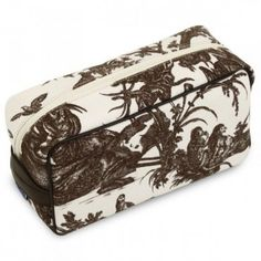 Brown Toile Toiletry Bag - My French Neighbor