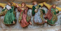 Винтаж ручной работы. Ярмарка Мастеров - ручная работа. Купить Старинный вышитый ангел ручной работы. В голубом.. Handmade.