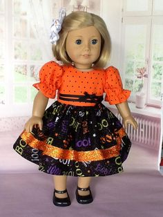 Doll dress and hair clip for American Girl Doll and other 18
