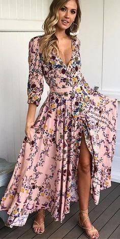 Vestido de flores rosa Maxi + sandalias Nude #summer #outfits