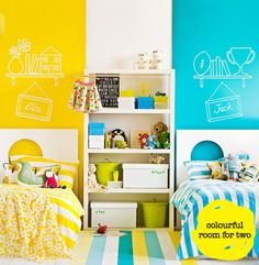 maybe a bit too bright, but like the idea for a girl/boy shared room