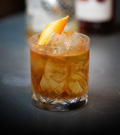 Blood & Sand [45ml Dewar's 12 Year Old Scotch Whisky, 20ml DeKuyper Cherry Brandy Liqueur, 20ml Martini Rosso Sweet Vermouth, 20ml Orange Juice | Shake all with ice and fine strain into chilled glass. Garnish with orange twist.]
