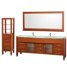 "Daytona 78"" Double Bathroom Vanity Set & Side Cabinet by Wyndham Collection - Cherry"