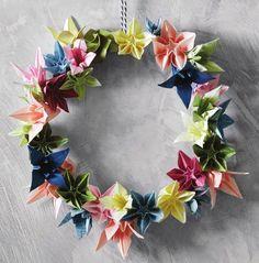 DIY Origami Flower Wreath via #SweetPaul