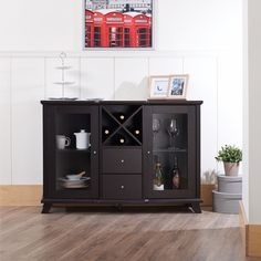 Furniture of America Melissa Modern Dining Buffet, Cappuccino Glass Front Cabinets, Glass Cabinet Doors, Glass Doors, Inside Cabinets, Buffet Cabinet, Sideboard Buffet, China Cabinet, Dining Buffet, Wine Buffet