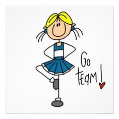 Blue Stick Figure Cheerleader T shirts and Gifts Announcements