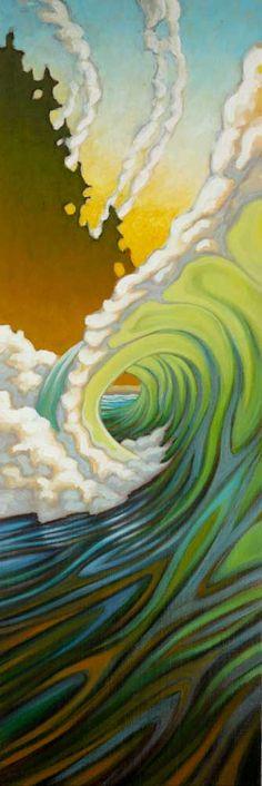 """California Spring"" by Matt Beard Tenacious D, Tiki Art, Hawaiian Art, Surfboard Art, Wave Art, Ocean Art, Beach Art, Unique Art, Art Inspo"