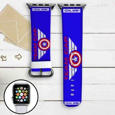 Team Captain America Civil War Custom Apple Watch Band Leather Strap Wrist Band Replacement