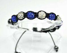 Bracelet shamballa-shambala-7 perles boules strass diamant-bleu saphir-hématite