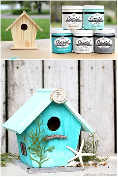 Birdhouse painted with FolkArt Coastal Paint. The paint makes it easy to create a textured finish. The paint also blends really well for a washed look. This is my beach inspired Starfish Cottage.