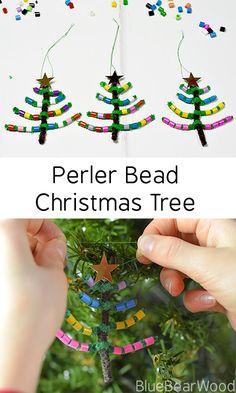 Perler/Hama Bead And Pipe Cleaner Christmas Tree #christmascraft #christmastree #treedecoration #christmasdecoration #kidscraft