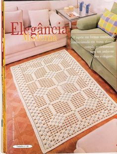 Carpetas y Manteles Crochet.There's a chart for making this beautiful rug! Crochet Doily Rug, Crochet Carpet, Crochet Curtains, Filet Crochet, Knit Crochet, Crochet Stitches Patterns, Doily Patterns, Knit Rug, Crochet Table Runner