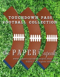 Printable Cupcake Wrappers - Touchdown Pass Football Collection - DIY Printables by The Paper Cupcake