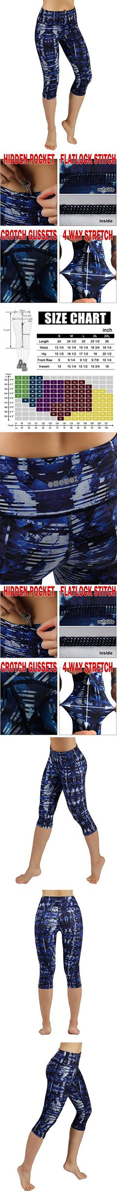 ODODOS by Power Flex Women's Tummy Control Workout Running Printed Capris Yoga Capris Pants With Hidden Pocket ,Indigo, Small