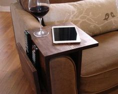 Sofa Chair Arm Rest Table Stand with Shelf and Storage Pocket for Magazines by KeoDecor