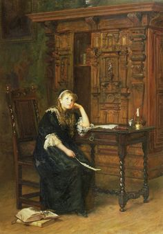 A painting by John Everett Millais depicting Princess Elizabeth Tudor (later Queen Elizabeth I) under arrest. This was the time period after her mother, Anne Boleyn, had been executed and Elizabeth was no longer in favor with the king.