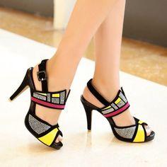 Women Color Stitching Sandals Shoes High Heel Peep Toe Ankle Strap Slingbacks Sz
