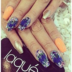 Flowers blue orange gold nail art