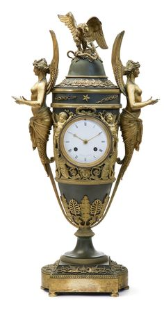 An Empire ormolu and patinated bronze mantel clock attributed to Claude Galle circa 1781, the dial signed Maniere a Paris
