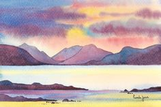 Original Watercolour, Seascape, Painting, Sunset, Isle Of Skye, Scottish Highlands, 14ins x 11ins, Gift Idea, Home and Living