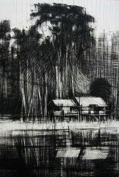 Calo Carratalá Printmaking, Draw, Black And White, Landscape, Graphite, Pastels, Places, Illustration, Drawings
