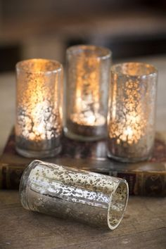 ❥ Antiqued Mercury Glass Tea Light Candle Holders