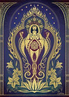 "walkingwithgoddesses: "" polyteleology: "" ""Sacred Mother,"" from the Global Goddess series, by Cristina McAllister. "" ♀☽hail the sacred feminine☾♀ "" Wicca, Magick, Witchcraft, Divine Mother, Mother Goddess, Les Reptiles, Pagan Art, Goddess Art, Iris Goddess"