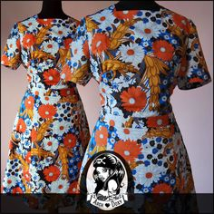 Vintage 1960s Printed Scooter Flower Power MOD Twiggy Shift SKA Dress Size 14