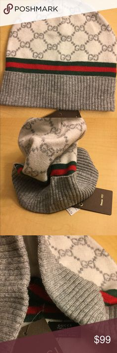 Authentic Gucci Wool Beanie Authentic Gucci Beanie Hat For those who love wearing the latest styles of the season you can count on Italy's most prestigious designers GUCCI .  When cold weather is in the forecast, take cover in this Unisex GUCCI Beanie Hat,  complete with a warm protective Hat that feature a durable stretch fit and the active style you want. . Made in Italy, Brand New with all Tags  Material: 70% Wool - 30% Cashmere Gucci Accessories Hats