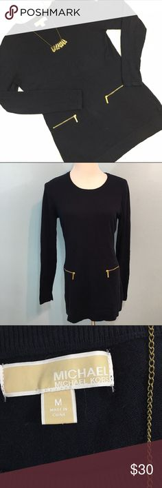 """Michael Kors Tunic Length Navy Sweater Excellent condition, navy w/ gold tone zipper accents. No flaws to material. Measurements: Bust 18"""", Waist 16"""", Length 30"""". Michael Kors Tops"""