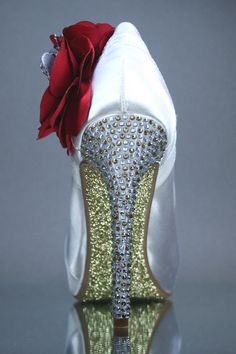 Wedding Shoes - Ivory Wedding Shoes with Gold and Silver Rhinestones on Heel, Gold Glitter Sole and Red Flowers with Rhinestone Butterflies