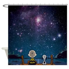Charlie Brown and Snoopy Space Shower Curtain