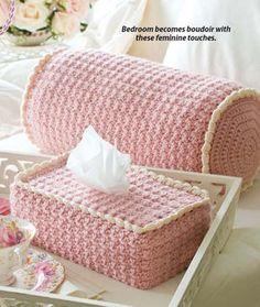 Ravelry: Bolster Pillow & Boutique Tissue Cover pattern by Jocelyn Sass Crochet Gifts, Cute Crochet, Knit Crochet, Crochet Baby, Tissue Box Covers, Tissue Boxes, Crochet Designs, Crochet Patterns, Crochet Ideas
