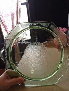 """Vintage Green Depression Glass """"Princess"""" cake plate by eg2006.  #green #depression_glass #glassware #antique #vintage"""