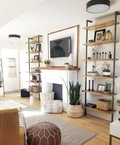 Decorate Living Room Shelves 44 Mid Century Modern Living Room Decor Ideas Home Mid Century Modern Living Room, Living Room Modern, Living Room Designs, Decorating Ideas For The Home Living Room, Pallet Furniture Living Room, Home Furniture, Wooden Furniture, Furniture Design, Furniture Projects