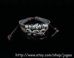 Handmade Brown Leather Bracelet Blue Crystal Bracelet by JuGao, $4.90