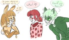 (Miraculous: Tales of Ladybug and Cat Noir) Volpina, Ladybug and Cat Noir