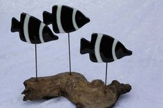Fused glass drift wood fish by kingfisherstainglass on Etsy
