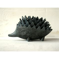 Hedgehog ashtrays, Made in the USSR, Walter BOSSE design (£33) ❤ liked on Polyvore featuring home, home decor, metal ashtray, hedgehog home decor, metal figurines and metal home decor