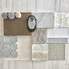 A pretty neutral room palette featuring Maya Romanoff's Mother of Pearl wallcovering Material Board, Stone Veneer, Neutral Colour Palette, Colour Schemes, Pearls, Interior Design, Blush Bedroom, Clapham Common, Design Boards