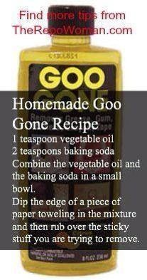 Homemade goo gone recipe- took a little while to get stickers off a picture frame but did work pretty well!