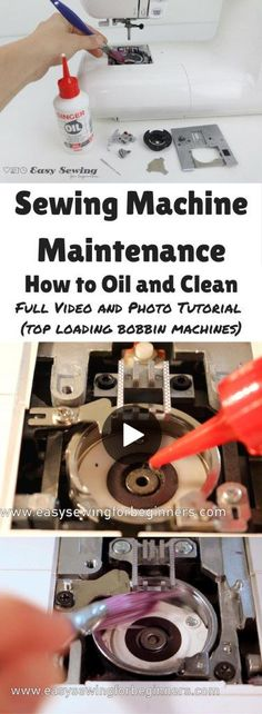 Sewing Machine Maintenance: How to Oil and Clean Video Tutorial (Top Loading Bobbin) - Easy Sewing for Beginners - http://www.easysewingforbeginners.com/project/tips-for-cleaning-and-maintaining-your-sewing-machine-at-home-top-loading-bobbin/
