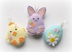 Felt Easter Friends decorations. Felt Bunny. by PollyChromeCrafts