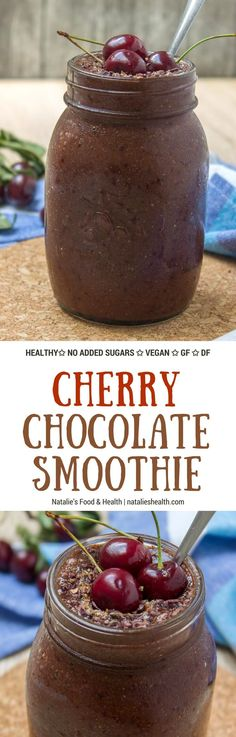 Rich and creamy Cherry Chocolate Smoothie full of chocolate flavor loaded with powerful antioxidants, dietary fibers, and plant-based proteins. This smoothie is very nutritious and low calorie, made without added sugars, vegan, gluten-free and dairy-free. A HEALTHY snack or great post workout meal. #vegan #dairyfree #sugarfree #gluten-free #healthy #smoothie #chocolate #cacao #cherry #kidsfriendly #lowcalorie #paleo #whole30 #weightloss |natalieshealth.com