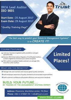 IRCA Lead Auditor, ISO 9001 training classes... Register now and be trained by the management systems expert! Few places Left!! 01-373067 / 76 Start Date : 25 August 2017 Exam Date: 29 August 2017 #trust #ci #trustci #consultancy #and #investment #iso #audit #marketing #feasibility #study #feasibilitystudy #hr #tax #finance #risksolutions #risk #solutions #advisory #business #one #irca #lead #auditor