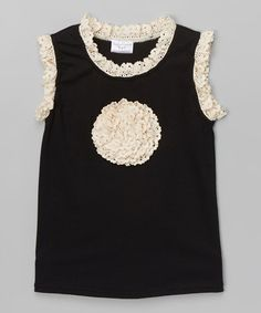 Look at this #zulilyfind! Black & Ivory Lace-Accent Flower Tank - Infant, Toddler & Girls #zulilyfinds
