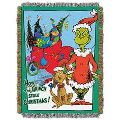 The Grinch even has his own throw!  Fun addition to your den decor over the holidays.