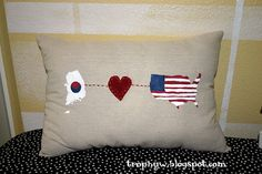 Tales of a Trophy Wife: Long Distance Love Pillows-Variations on a theme Long Distance Pillow, Long Distance Love, Long Pillow, Craft Desk, Diy Scrapbook, Scrapbooking, Present Gift, Diy Arts And Crafts, Diy Shirt